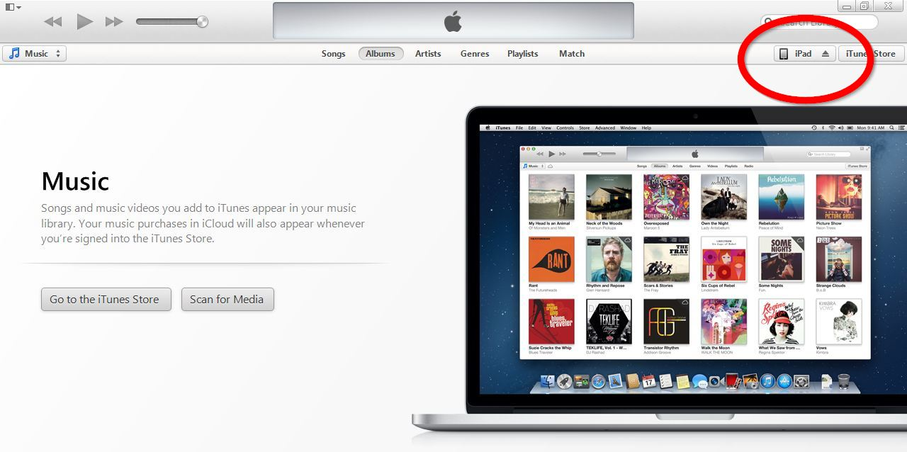 Image shows a fresh installation of iTunes 11 with an empty music library. Click on the name of your device in the top right hand corner.
