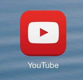 The YouTube icon as shown on the home screen.